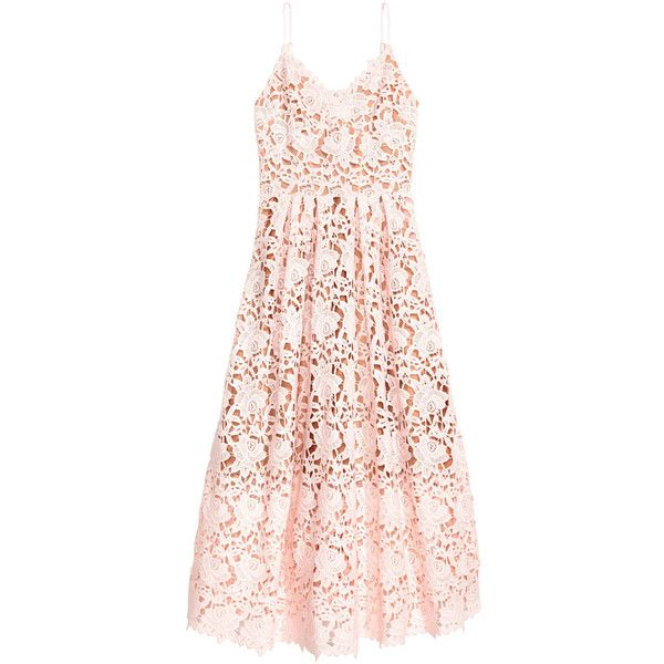 Spitzenkleid 99,- ($129) ❤ liked on Polyvore featuring dresses, h&m, midi cocktail dress, pink cocktail dress, lace cocktail dress, v neck cocktail dress and pink jersey