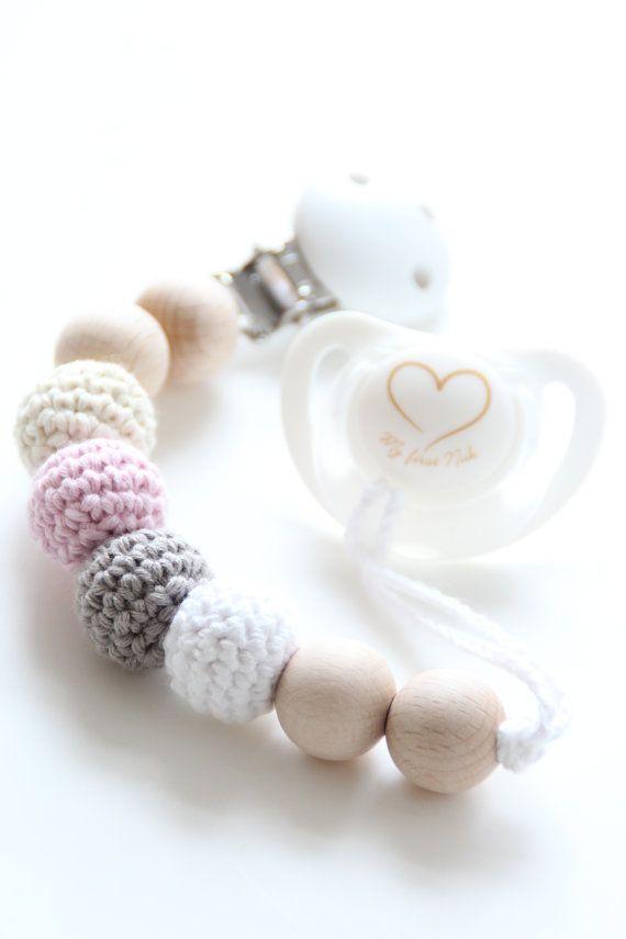 Organic baby pacifier clip / Dummy clip / by ZanesCrochetTreasure