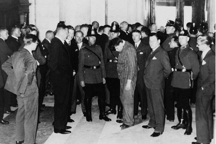 Dutchman Marinus van der Lubbe, a former independent communist, was found in the burning building of the Reichstag February 27, 1933. The court found Van der Lubbe guilty and sentenced him to death. Shortly after he was decapitated. The rest of the defendants were acquitted, but the government left them in jail.