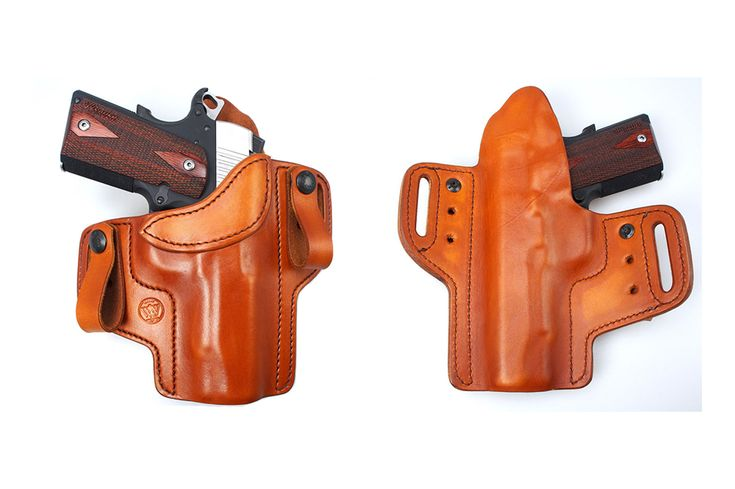 IWB & OWB The holster fetters dual-layered laminated leather for comfort and retention. It features 1-3/4-inch belt holes, and also has the option of attaching leather belt loops or metal clips for various concealment options.