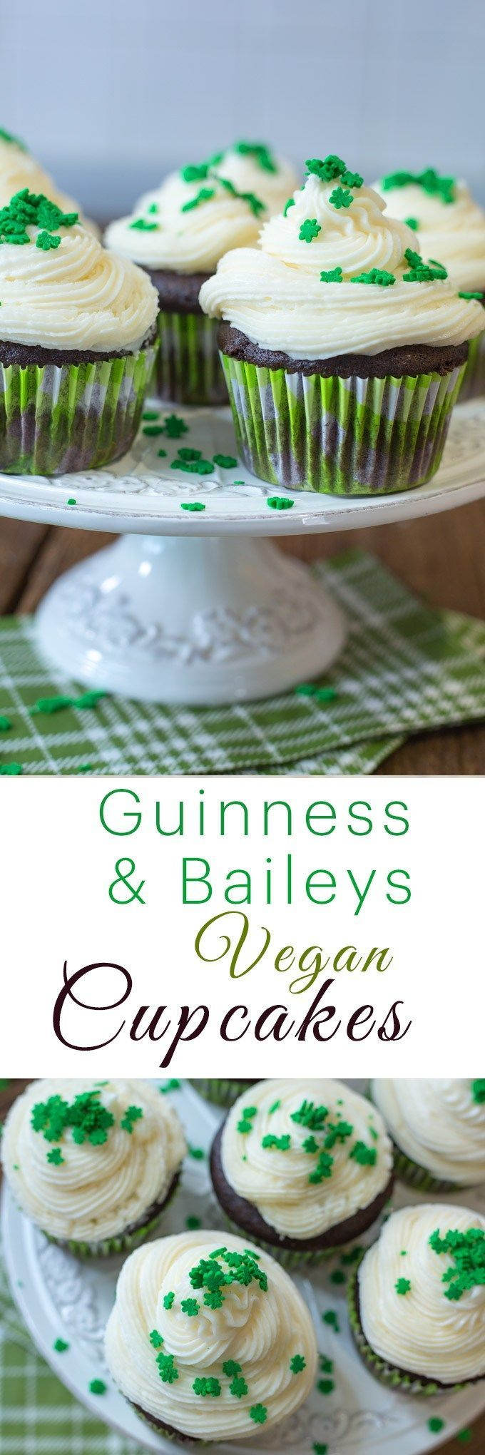 Adult cupcakes made with Irish stout and chocolate for a rich and dark, velvety dessert. Topped with creamy Baileys buttercream, these vegan Guinness cupcakes are the perfect treat to bring to a St Patrick's day party!  Guinness Cupcakes w/ Bailey's Buttercream | VEGAN Cupcake Recipe