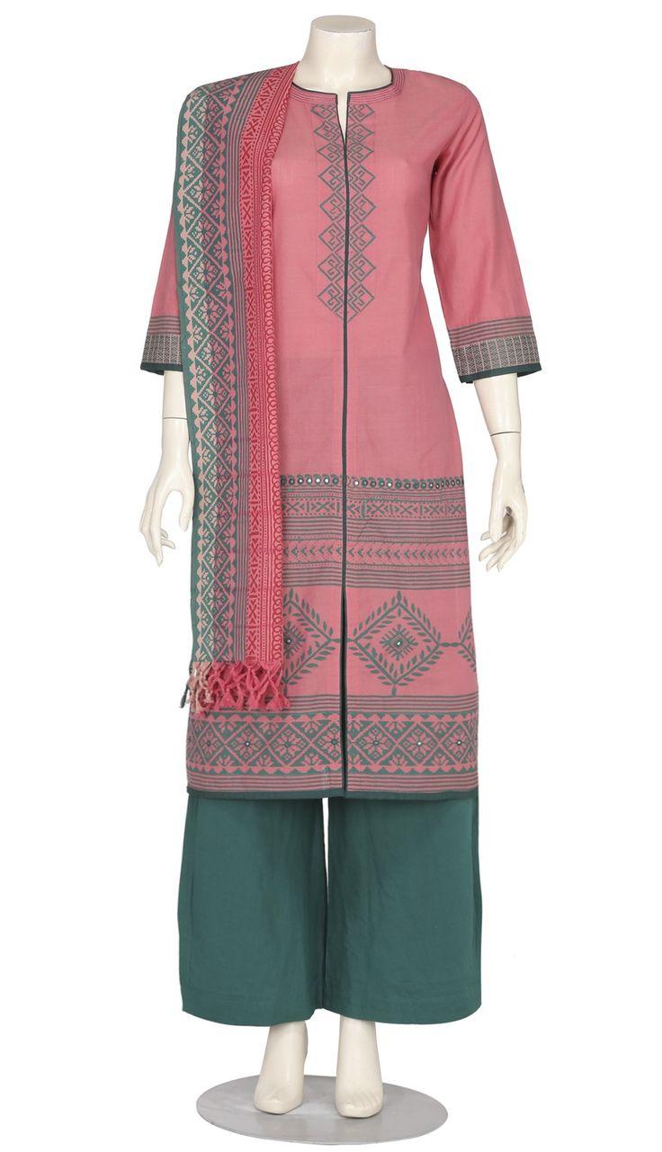 Pink Printed and Embroidered Hand Loomed Cotton Shalwar Kameez Set