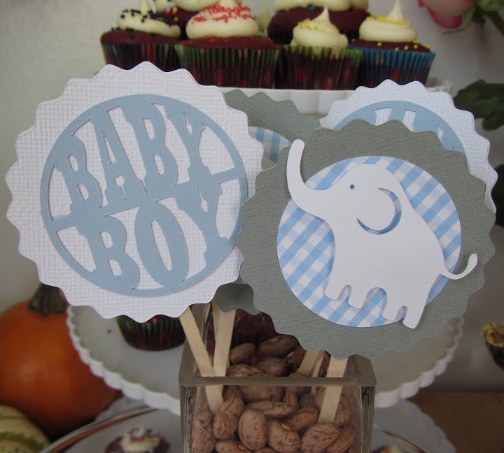baby boy elephant cupcake toppers decorations food picks baby shower gender reveal set of 12