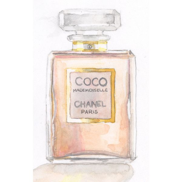 Coco Mademoiselle Chanel Painting Watercolor Eau de Parfum Paris Perfume Bottle - Digital Print 6 x 9 - FREE Shipping found on Polyvore
