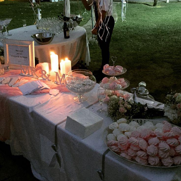 Τραπεζι ευχων γαμου - λευκο ροζ γκρι