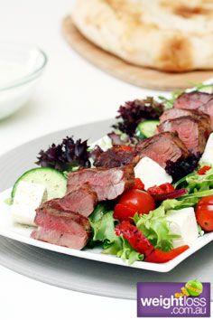 Healthy Lamb Recipes: Grilled Lamb Salad with Tzatziki. #HealthyRecipes #DietRecipes #WeightlossRecipes weightloss.com.au