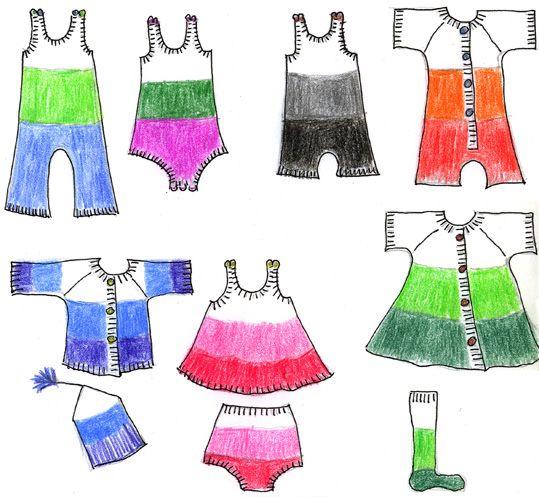 Skiss på byxor, klänningar, kolt, tröja, sockar och mössa för baby 0-12 mån