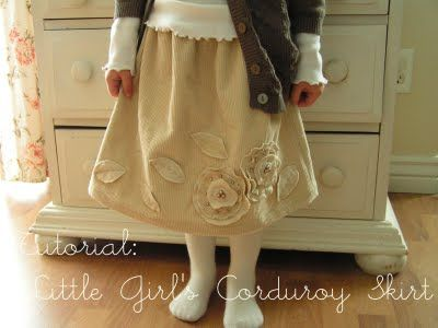 Tea Rose Home: Tutorial ~ Corduroy Skirt for Little Girl ~  This site has SO MANY cute sewing tutorials!!  **REMINDER** Go back and take a longer look!!