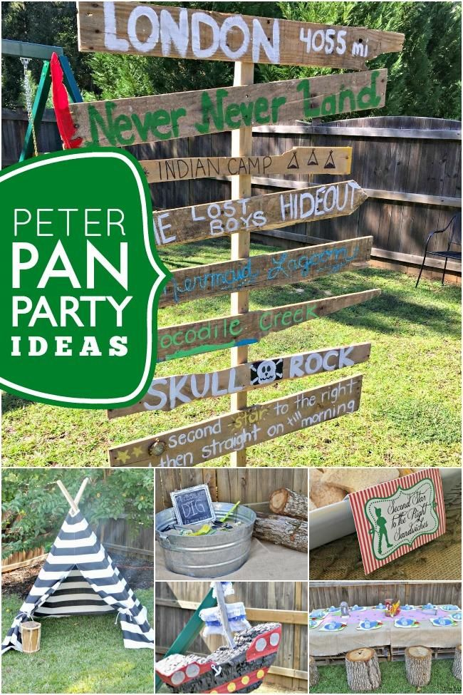 Does your little guy enjoy imaginative play? He'd love this boy's Peter Pan 4th birthday party where the menu, decorations, party favors and games delightfully carry out the theme!