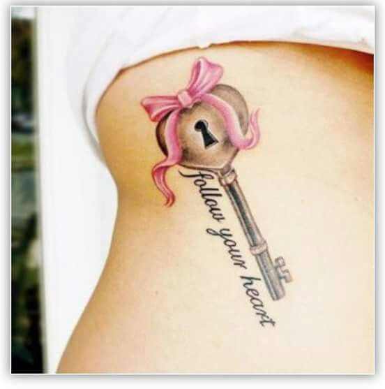 Follow your heart Key with pink bow tattoo