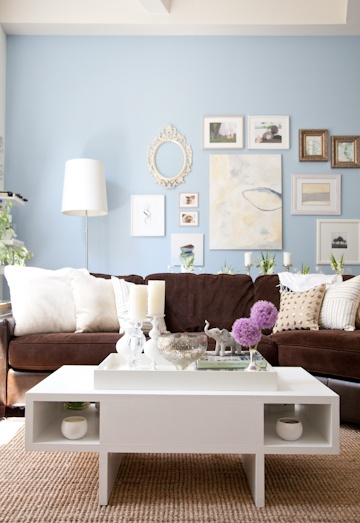 Just re-painted our living room with blue walls..looking for more decorating ideas to go with the brown furniture.