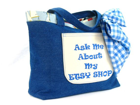 Promotional Tote Ask Me About My Etsy Shop by BeautifulBagsEtc, $35.00