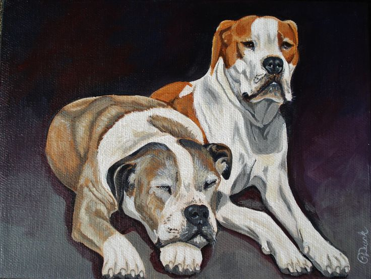 """SOLD """"Together Again"""" 6"""" x 8"""" by Pauline Dueck #dogportraits"""