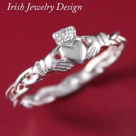 Claddagh ring, ladies silver claddagh ring on celtic rope band. on Etsy, $59.50