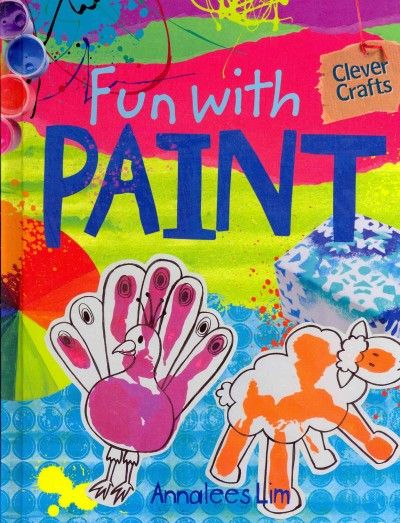 Young artist use paint to create colorful crafts.