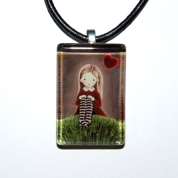 My planet is lit by love  glass tile pendant  by tanyabond on Etsy, $25.00