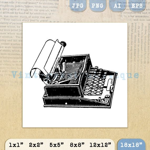 Printable Graphic Old Fashioned Typewriter by VintageRetroAntique