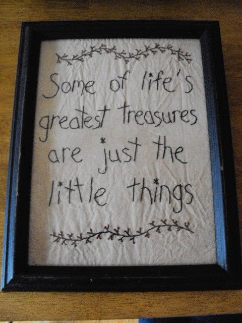 Primitive Stitchery Sign Picture Some of life's greatest treasures are the little things on Etsy, $18.00