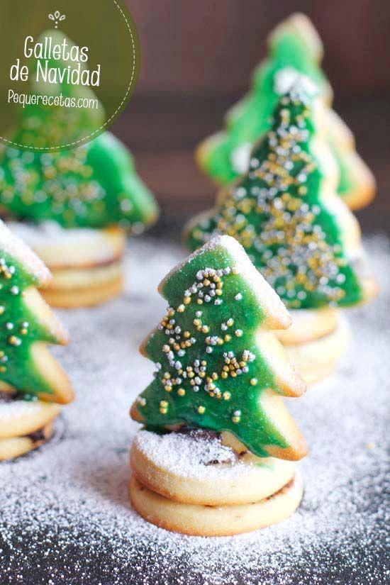 Galletas de Navidad: Mini abetos navideños , Hoy os traemos unas galletas de Navidad, una idea que seguro va a encantar a los niños, unos mini abetos navideños, hechos con galleta y chocola...