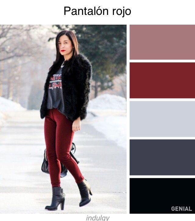 Combinación con pantalón vino