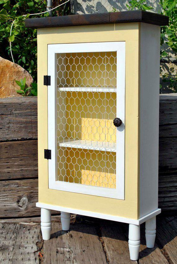 Farmhouse Cabinet Rustic Furniture Chicken Wire Primitive