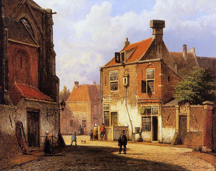 Willem Koekkoek | 1839 – 1885 | Sunny old Dutch street