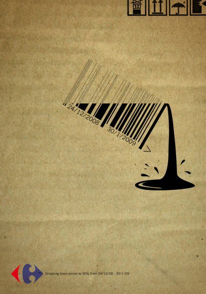 Carrefour bar code ad by Strategies, Cairo - website is Ads of the World adn has a large selection in different mediums