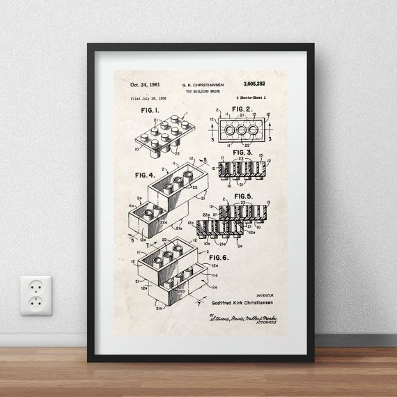 Lego brick patent Poster - DIGITAL PRINTABLE poster - Instant DOWNLOAD - jpg-file - A4