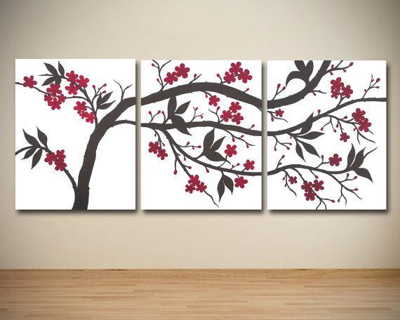 large canvas wall art triptych red and brown by