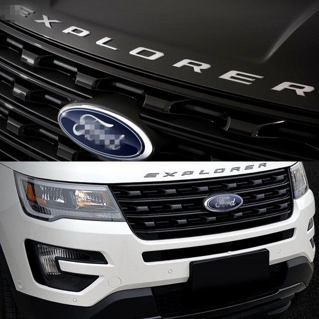 for Ford Explorer Sport SILVER BLACK Hood Emblem Letters Gloss Finish 2011 2012 2013 2014 2015 2016 2017 year #Affiliate