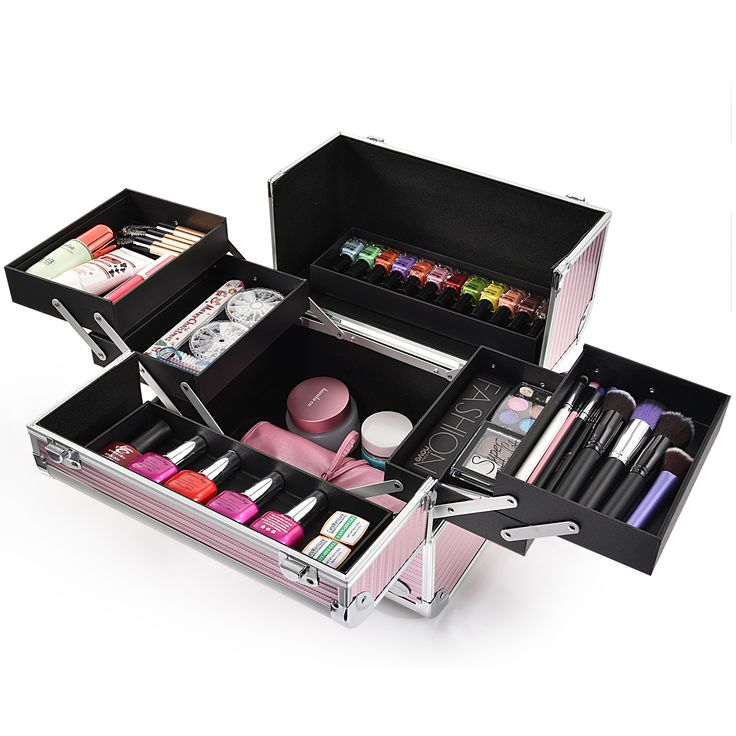 Joligarce Pink Stripe Professional Makeup Train Case with Detachable Trays Travel makeup case with mirror Artis makeup case Makeup vanity with storage Makeup organizer with mirror Best makeup case Big makeup case Cheap makeup organizer Cosmetic train case Makeup case with brush holder Makeup organizer with drawers Makeup case with lock Makeup artist train case Portable makeup case