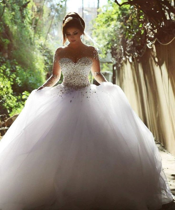 HoneeyGirl Gorgeous 2015 Pearls Beading Long Sleeves Ball Wedding Dresses for Bride at Amazon Women's Clothing store: