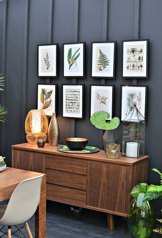 Some of the cool home interior trends of 2015 that are making their way into our homes. From the  Ideal Home Show... copper metallics, palm prints and dark inky walls.