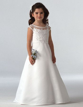 Pretty A-Line Round Full Length Lace Floor Length First Communion Dresses/ Flower Girl Dresses