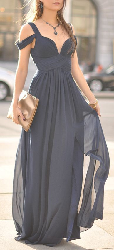 Elegant off-the-shoulder long blue bridesmaid dress; Via Lulu