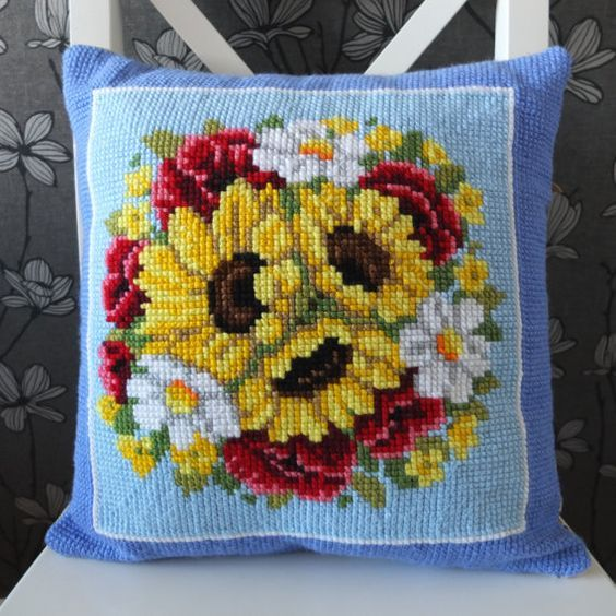 Sunflowers cross stitch handmade pillow cover cushion by RedRuta: