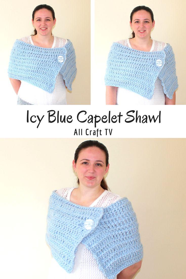 Crochet Icy Blue Capelet Shawl