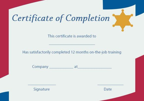 On the Job Training Certificate of Completion Template