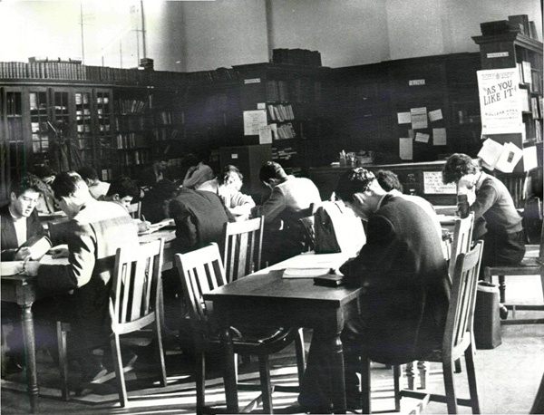 Inside the library at Wolverhampton and Staffordshire Technical College.