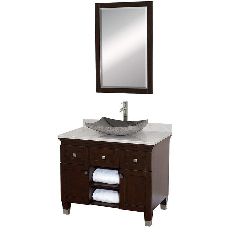 Shop Wyndham Collection Premiere Espresso Vessel Single Sink Oak Bathroom Vanity With Natural Marble Top Mirror Included Common X Actual