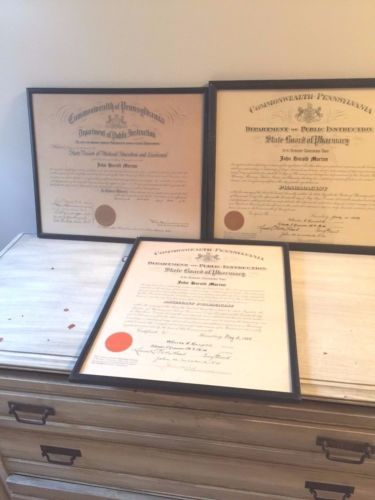 3-Vintage-1929-State-Board-Of-PA-Medical-Doctor-039-s-Medical-amp-Pharmacy-Certificate