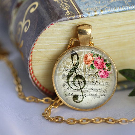 MUSIC NOTE Necklace Pendant Vintage G Clef by LiteraryArtPrints #necklaces #literary