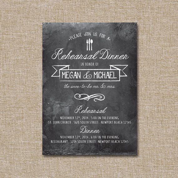 Wedding Rehearsal DInner Invitation Casual Chalk. by JRaeCardArt, $15.00