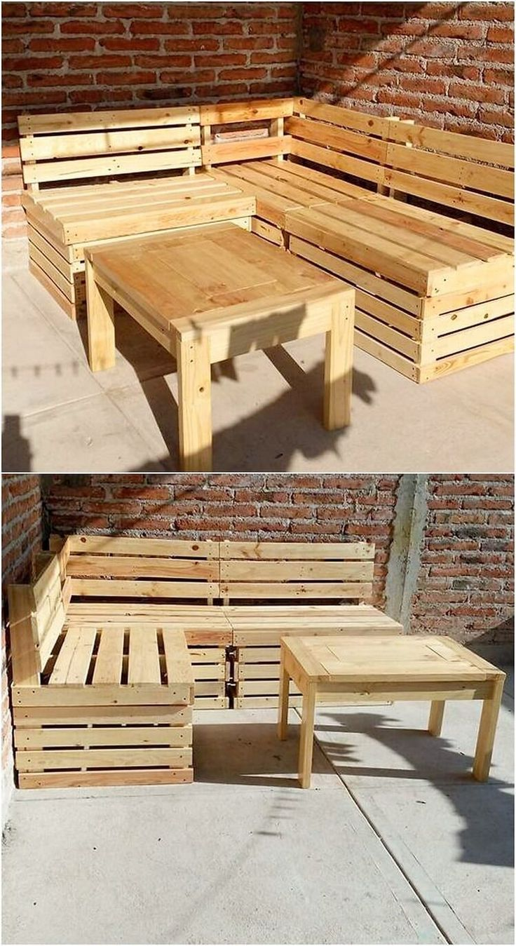Here we would add up the list with the interesting idea of wood pallet garden furniture set. This whole creation of the furniture set has been featured upon with the artistic blend of the couch and also the center table piece. It is much easy to build carried out in the designing working.