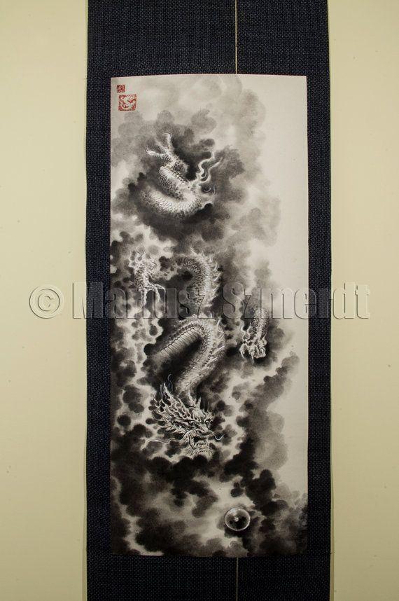 Pintura Dragão rolagem japonês original original presente de casamento parede de rolagem pintura artesanal preto branco asiático pintura da