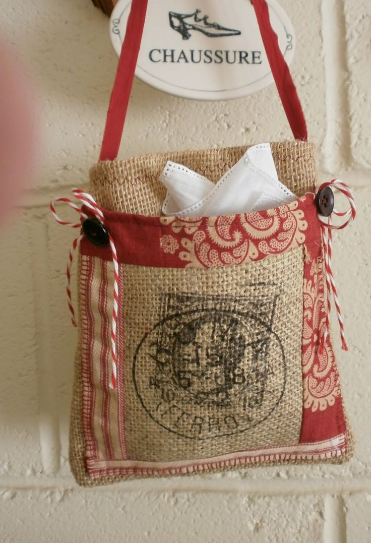 40 best burlap and fabric creations images on pinterest for Burlap bag craft ideas