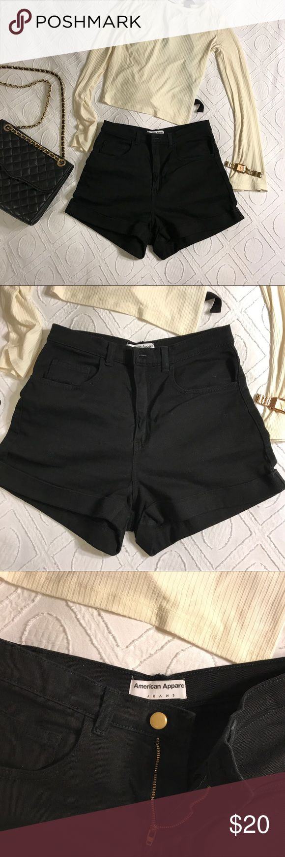 High waisted American Apparel Jean Shorts High waisted. Black. Jean material. Stretchy. American Apparel Shorts Jean Shorts
