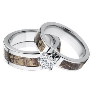 Outdoor His and Her's Matching RealTree AP Camouflage Wedding Ring Set