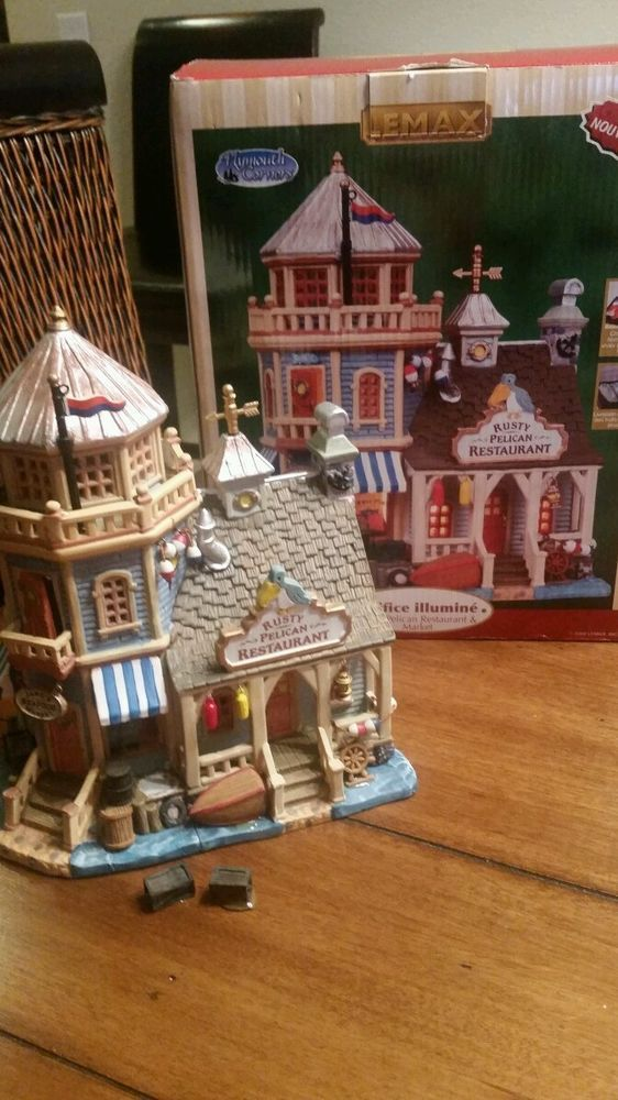 "Lemax 2008 ""Rusty Pelican Restaurant"" Lighted Village House See Details Nice"