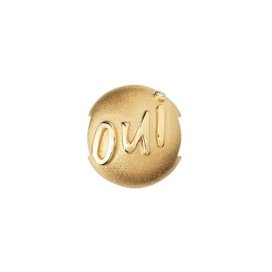 'Oui' gold plated pod with white zirconia